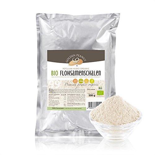 BIO Flohsamenschalen Pulver 99%, fein gemahlen 500g Beutel, extra weiß, keimreduziert, aus frischer Ernte und ausgewählten Anbaugebieten in Indien