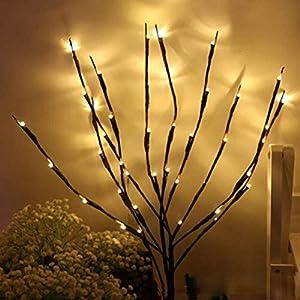 Ysoom LED Lichterzweige Dekoleuchte Dekozweige Lichterzweige 20 LEDs Lichter Zweige Lichterbaum LED Baum Lichterzweig Dekobeleuchtung für Innen Außen