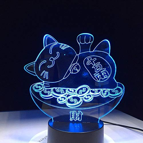 Gwgdjk Glück Schatz Katze 3D Lava Lampe Kreative 7 Farben Ändern LedNachtlicht Stimmung Decor Geschenk Schlafzimmer Tischlampe