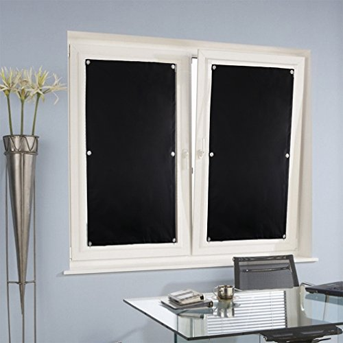 KINLO® Rollo für Dachfenster Schwarz 57x100cm(BxL) TOP Qualität Verdunkelungsrollo Dachfenster Hitzeschutz Dachfensterplissee ohne Bohren aus 100% Polyesterfasern Thermorollo für Verlux mit Krafthaftsaugern