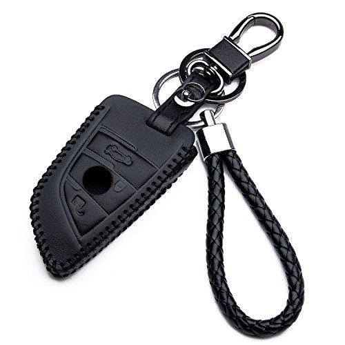 Carcasa Funda de Piel con Llaveros para Llave Control Remoto BMW Serie 2 7 X5 X6 Nuovo Smartkey Llave 3 Botones Protección Cuero Sintético de Mando a Distancia Keyless Coche