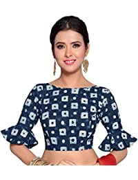 STUDIO Shringaar Women's Indigo Blue Bandhej Pure Cotton Stitched Saree Blouse With Frilled Sleeves