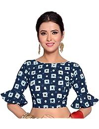 STUDIO Shringaar Women's Indigo Blue Bandhej Pure Cotton Stitched Saree Blouse With Frilled Sleeves