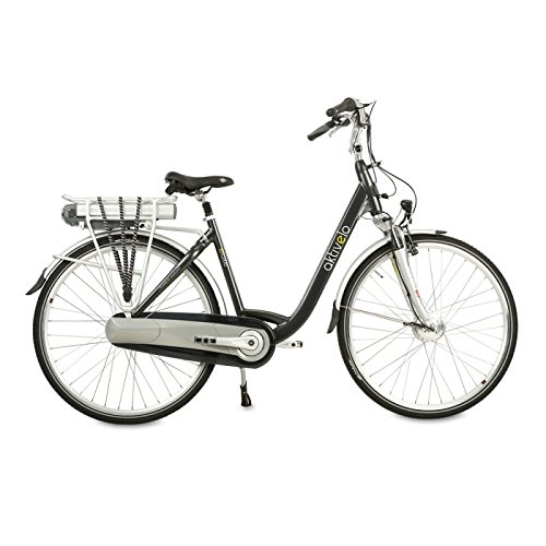 Alu-Elektro-Fahrrad, Damen | 28 Zoll | Shimano Nexus 8-Gang Nabenschaltung | Akku 15,6 Ah mit 5 Motorunterstützungsstufen | LCD-Display & Aluminiumrahmen, Schwarz