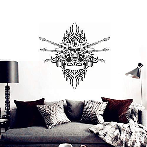 mer Skull Halloween Rock Guitar Sticker Punk Death Decal for music room living room bedroom ()