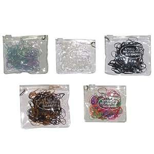 Lot de 5 pochettes de 250 mini élastiques pour tresses africaines cheveux blanc noir multicolore, marron, pastel