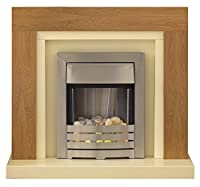 Adam Chloe Oak and Ivory Fireplace Suite with Helios Electric Fire, 2000 Watt