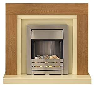 Adam Chloe Oak and Ivory Fireplace Suite with Helios Electric Fire, 2000 Watt