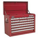 SEALEY Werkzeugkiste ap3310910Schubladen mit Kugellager Folien–Rot