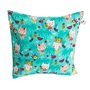 """TryPinky® Handmade Kissenbezug 35 X 35 cm"""" Hawai Katzen Türkis"""" Katze Kätzchen Mädchen Kissenhülle für Kissen Weihnachten"""