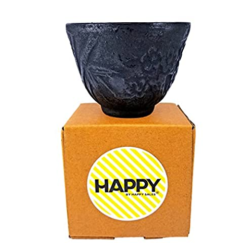 Happy Sales HSCT-BBK06, Cast Iron Teacup Bamboo Black by Happy Sales
