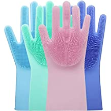 MAXABLE Reusable Rubber Stretchable Hand Gloves for Washing and Cleaning for Kitchen, Garden (Silicone Gloves) 1 Pair
