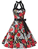 Dresstells® Halter 50s Rockabilly Polka Dots Audrey Dress Cosplay Halloween Dress Black Skull S