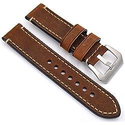 meridy Correa Reloj Cuero Correa de Recambio Correa de Repuesto Reloj Cinturón Adecuado Para Reloj Tradicional Reloj Deportivo Reloj Para Hombre o Reloj Inteligente 22mm Brown 1PCS