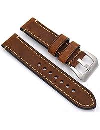 meridy Reloj de Cuero Correa de Repuesto Reloj Cinturón Adecuado Para Reloj Tradicional Reloj Deportivo Reloj Para Hombre o Reloj Inteligente 20mm Brown