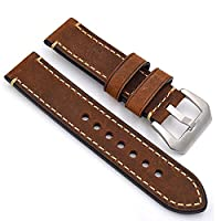 meridy Leather Watch Strap Replacement Watch Belt Fit For Traditional Watch Sports Watch Mens Watch or Smart Watch 20mm Brown