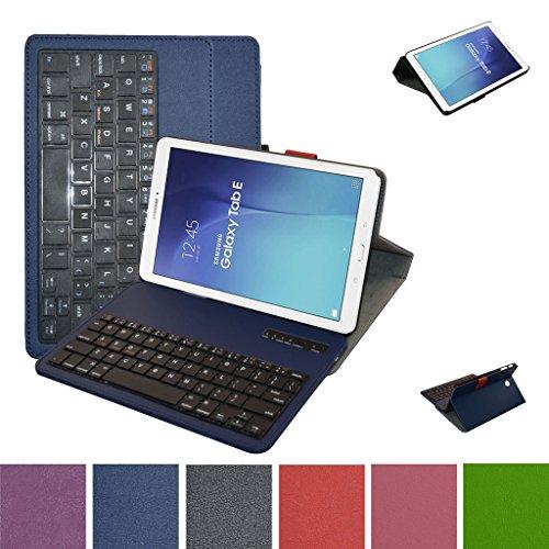 Samsung galaxy tab e 9.6 bluetooth tastiera custodia,mama mouth staccabile bluetooth tastiera (layout inglese) custodia in pu di cuoio pelle caso case per 9.6