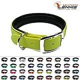 BioThane Halsband mit Dornschnalle/Gepolstert / 25 mm breit / 4 Längen [38-46 cm] / 49 Farben [Neon-Gelb]