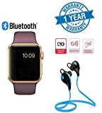 Twogood Golden A1 Bluetooth SmartWatch With WhatsApp, Facebook, Twitter, Pedometer, Remote Camera, SIM Card & Sleep Monitoring Support With Jogger Bluetooth 4.1 Lightweight Wireless Sports Headphones (1 Year Warranty)