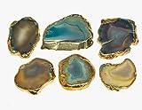 crocon natur Achat Slice Dye Colorful Untersetzer galvanisch für Cup Matte Stein Cup Halter Tisch Geoden Home Dekoration, Stein, Green & Gold, 1.5-2 Inch