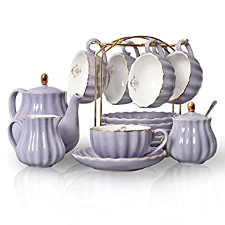 Sweejar Home Porcelain Tea Set Royal Family 8 oz Cups and Saucers for Wedding Ceramic Porcelain Tea Cup Set (Purple)
