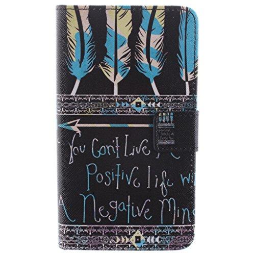 SsHhUu Samsung Galaxy Note Edge Custodia, Stylish Feather & Letter Magnetico Durable Stand Card Slot PU Leather Flip Slim Protettivo Portafoglio Cover Samsung Galaxy Note Edge N9150 5.6