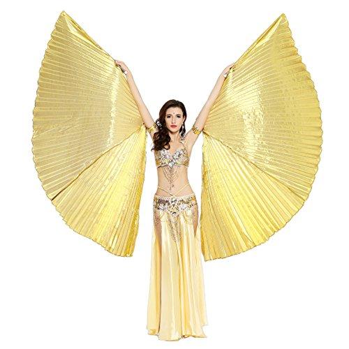 Dance Fairy Bauchtänzerin Isis Flügel Halloween spaß Darstellende Künste,Einschließlich Stöcke / Ruten (Gold (Schwarz Kostüme Bauchtänzerin Gold Und)