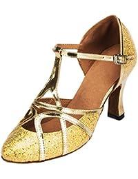 F & M piel sintética para mujer Mid tacón Salsa Tango salón de baile zapatos de baile latino Party CM101