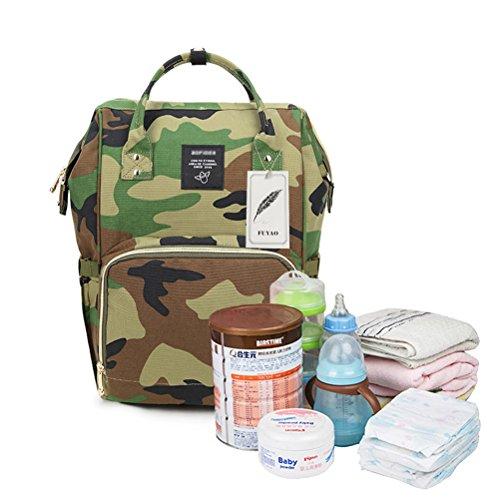 fuyao Camo Windel Rucksack Baby Care Wickeltasche, mit großer Kapazität für Väter und Mütter, Reißverschluss Reisen Rucksack (Baby-camo)