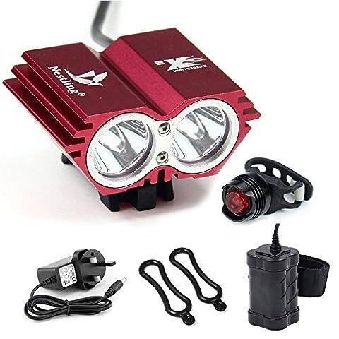 CDC® Waterproof 5000 Lumen 2x CREE XML U2 LED Cycling Bicycle Bike Light Lamp HeadLight Headlamp Red Color + 8.4V 6400mAh Battery Pack + 1 x Free Rear Light