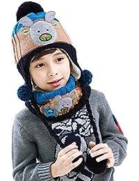 5837b62b931 Bigood Bonnet Echarpe Bébé Enfant Chapeau Animaux Imprimé Cache Oreilles ...