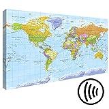 murando - Akustikbild Weltkarte 120x80 cm - Pinnwand - Wandbilder als Korktafel - Korkwand nutzbar - Schallschutz - Leinwand - Akustikdämmung - 1 Teilig - Wandbilder XXL - Schallschlucker - Wandbild - leise - k-A-0094-ah-a