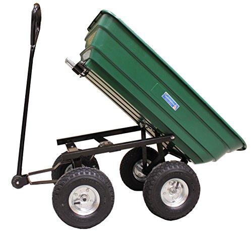 Baumarktplus Profi Gartenwagen 75 Liter 300 kg Gartenkarre grün mit Kippfunktion Transportwagen Bollerwagen Schubkarre kippbar