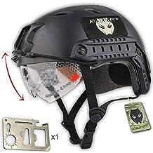 Ejército estilo militar SWAT combate rápido BJ Base salto casco w/gafas protectoras negro protección para los ojos para Airsoft y Paintball