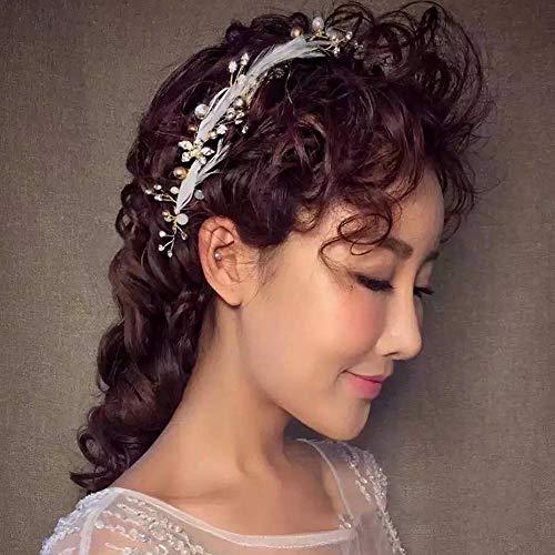 Littlefairy Braut Haarschmuck,Feder Haar Stirnband Sweet smart Elf Haarschmuck Hochzeit Kleid Accessoires