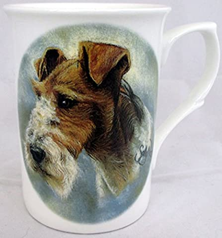 Wire Hair Fox Terrier Mug Fine Bone China Dog Lovers Collectable Mug Hand Decorated in the UK