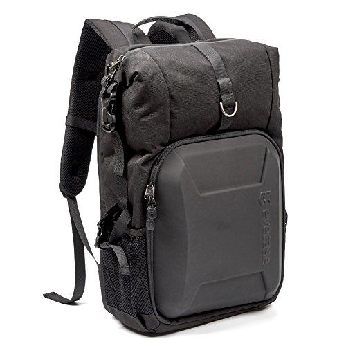 Zaino fotografico, evecase shell dslr zaino per fotocamera digitale/reflex, custodia antipioggia, supporto per treppiedi e cintura e scomparto per laptop imbottito fino a 15.6