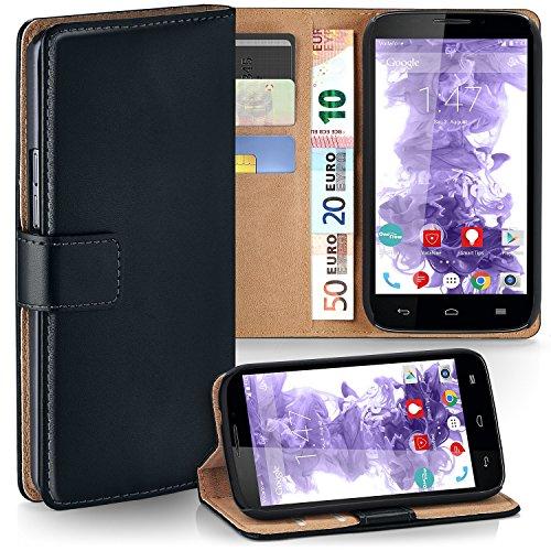 moex Vodafone Smart 4 Power   Hülle Schwarz mit Karten-Fach 360° Book Klapp-Hülle Handytasche Kunst-Leder Handyhülle für Vodafone Smart 4 Power Case Flip Cover Schutzhülle Tasche