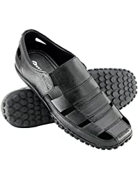 Copper Stylish Fine Look Outdoor Leather Sandals and Floaters for Mens, Boys and Gent's (Black)