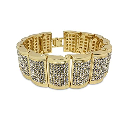 Iced Out Dome vergoldet Chunky Link Hip Hop Bling Armband