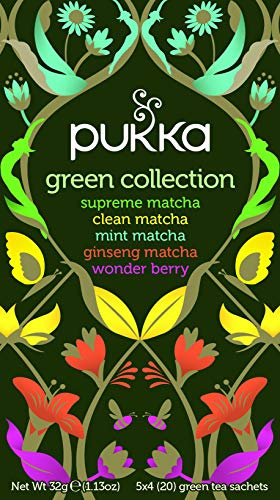Pukka Green Collection, Selection of Five Organic Green Teas (4 Pack, 80 Tea bags)