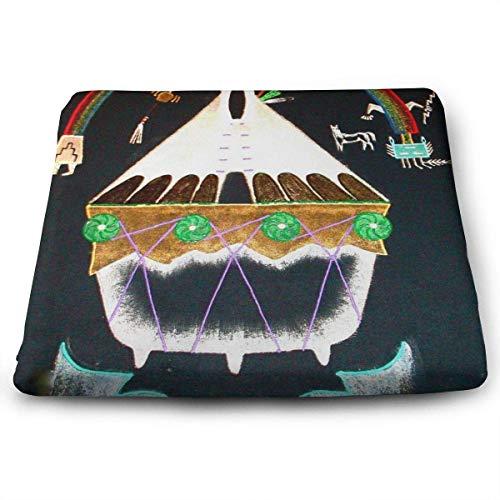 ADGoods Quadratisches Sitzkissen Native American Church Symbols Seat Cushion Pads Memory Foam Chair Pad Reversible Square Seat Cover Delicate Printing