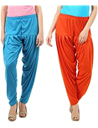 VP Texx Women's Cotton And Viscose Patiala Bottom Salwar Combo Pack Of 2 (Turquoise Blue And Orange)