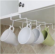 Ocamo 8-Hook Under-the-Shelf Mug Rack Kitchen Hanging Organizer Rack Mug Storage Holder No money