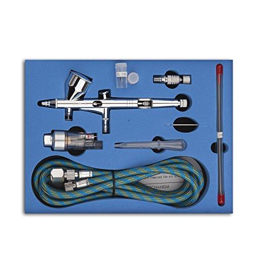 SP180K Professionelles Airbrush-Kit mit Doppelfunktion 0.2mm / 0.3mm / 0.5mm 3 verschiedene Düsen und Nadeln 9cc CUP Trigger Luftfarbe Kontrolle Airbrush Set für Kunst Tattoo Nail Art Make-up Handwerk Kuchen Spray Modellierung Werkzeug