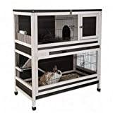 Indoor Lounge Small Pet Rabbit & Guinea Pig Cage Made From Spruce Wood - Set on two levels giving your pets freedom to move