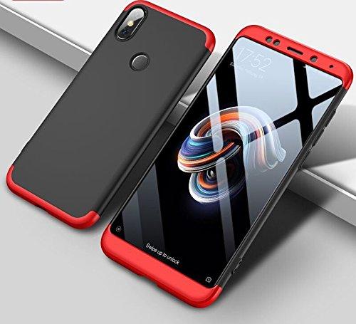 ECOSMOS ® Redmi Note5 Pro / Xiaomi Redmi Note 5 Pro Case 3 in1 360º Anti Slip Super Slim Back Cover for Redmi Note5 Pro / Xiaomi Redmi Note 5 Pro (Red and Black)