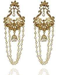 Energico Trendy And Traditional Gold Plated Chandbali Pearl Kundan Jhumka Jhumki Earrings For Girls And Women...