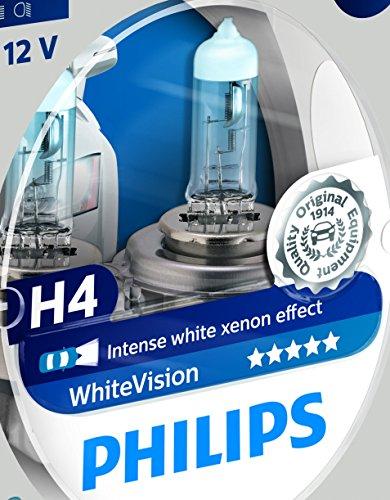 Philips 12342WHVSM WhiteVision Xenon-Effekt H4 Scheinwerferlampe, Doppelset
