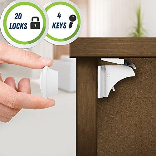20 Cierres de Seguridad, 4 Llaves - Cerraduras Magnéticas para Gabinetes, Gavetas, Cinta Adhesiva 3M - Bloqueo a Prueba de Niños y Bebes (El Kit Mas Grande en Amazon!)